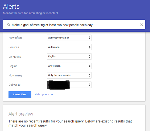 Google Alerts to find content thieves