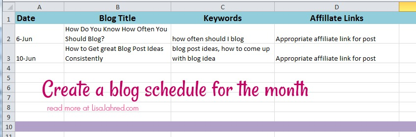 Stay organized with a monthly blogging schedule