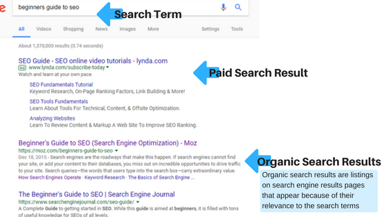 What are organic search results?