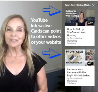 Cards on YouTube video direct viewers to your website